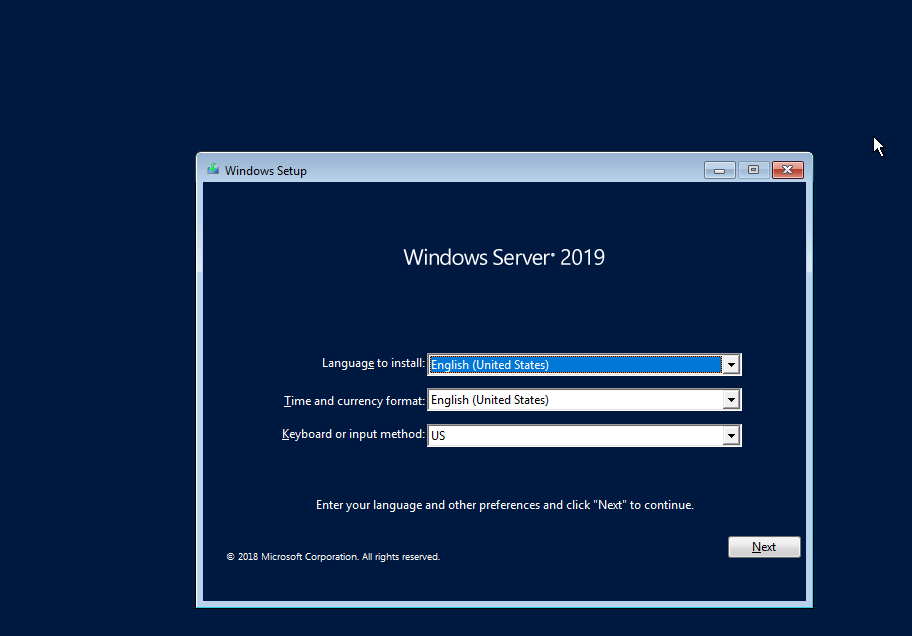 Windows Server  Installation Screen
