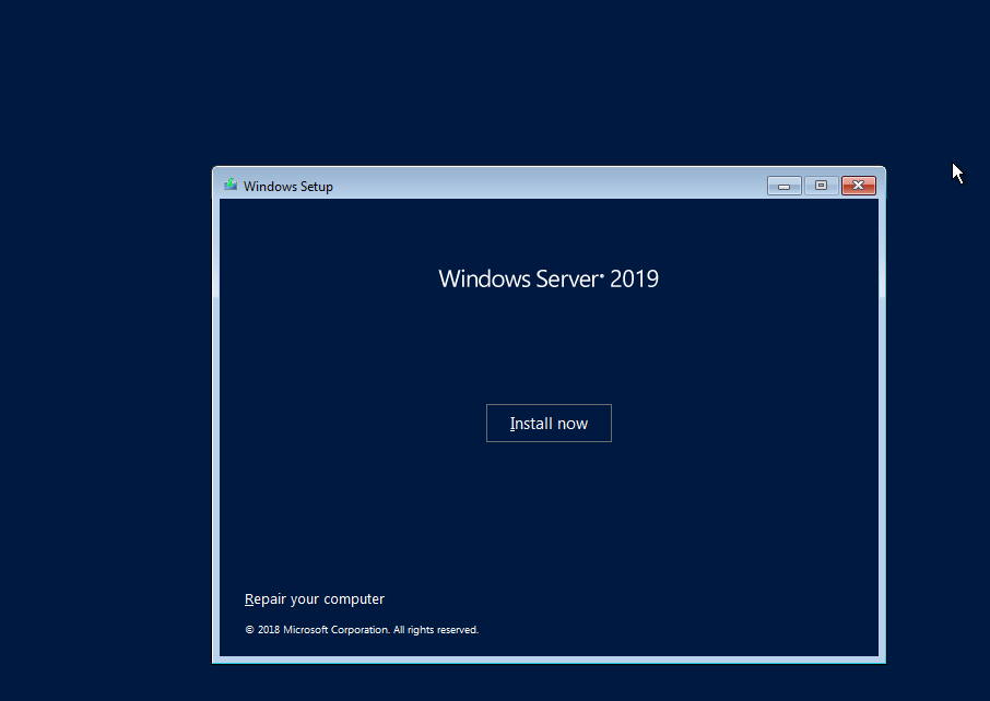 Install Windows Server 2019