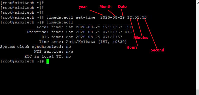 change both date and time in centos/Linux 8