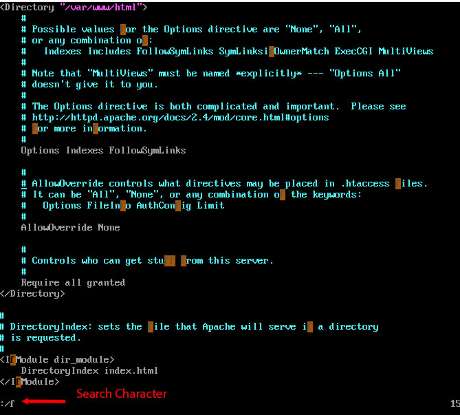 Search Character in vim text editor