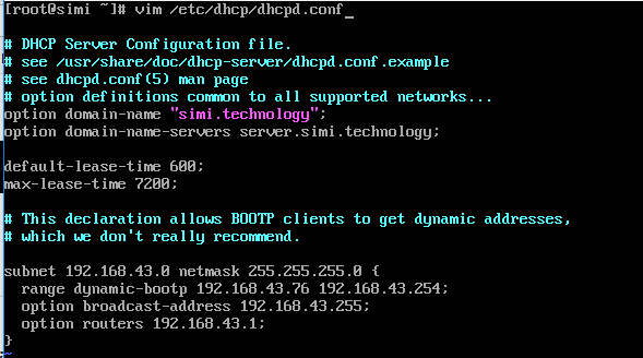 DHCP Main Configuration File.