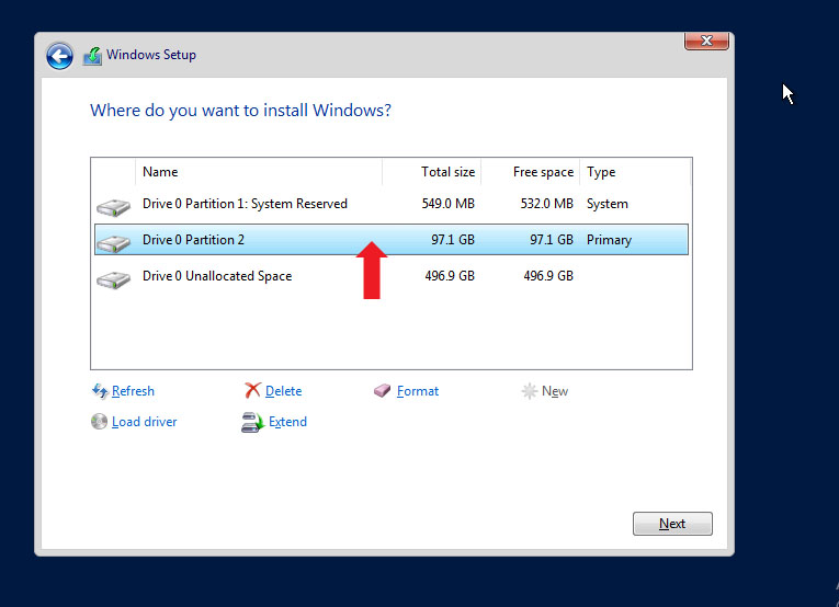 Partition to install Windows Server 2019