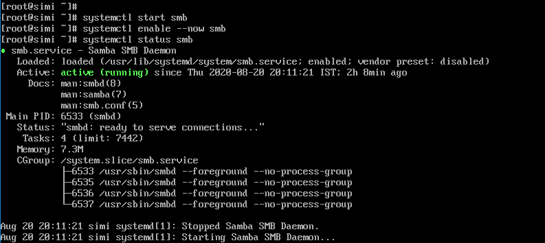 Start,enable and check samba services in Centos 8