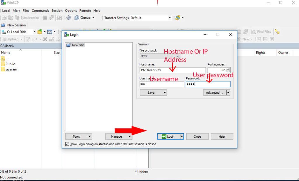 Access SSH Server Via WinScp