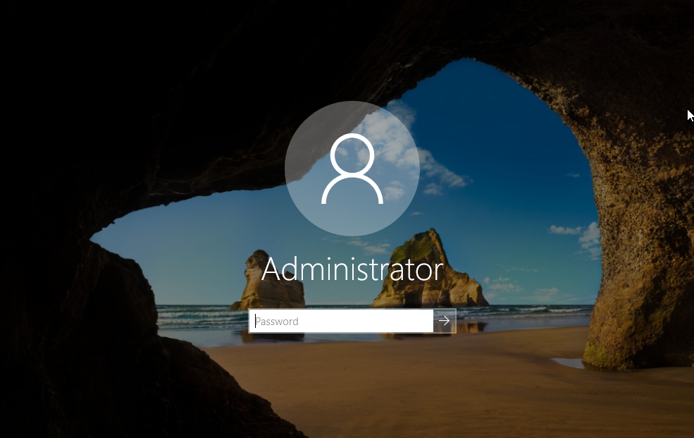 Login Screen Of Windows Server 2019