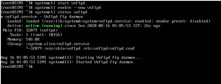 Start vsftpd Services and check Service Status