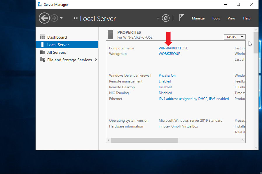 Open Local Server Manager and Click On Computer Name In Windows Server 2019