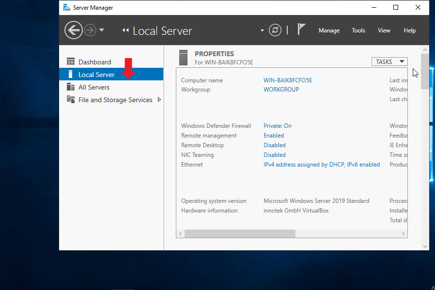 Open Local Server Manager In Windows Server 2019
