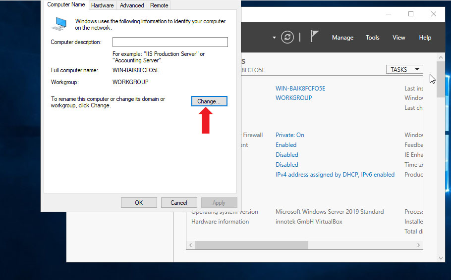 Change Computer Name In Windows Server 2019