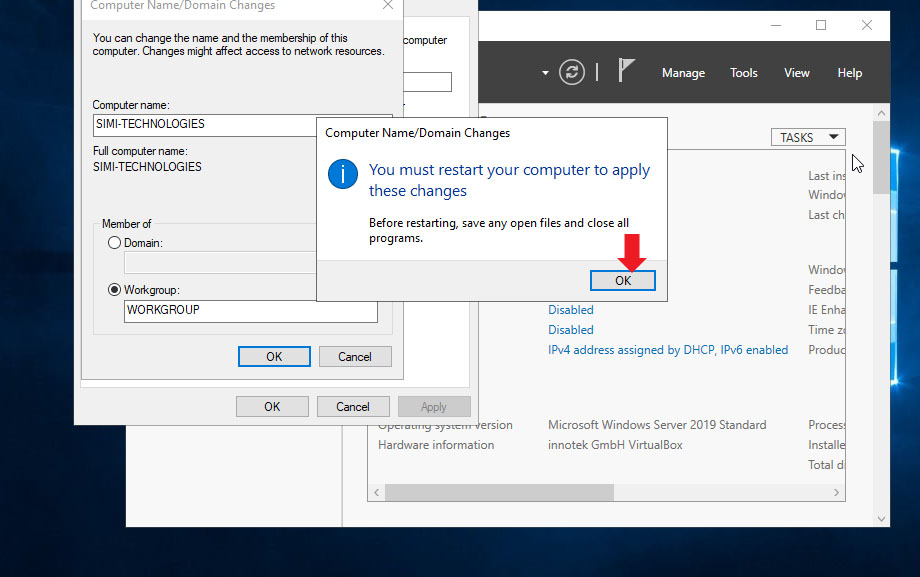Click On OK To restart Windows Server 2019 to Apply name Change
