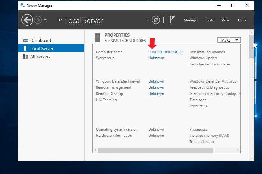 computer Name Changed in Windows Server 2019