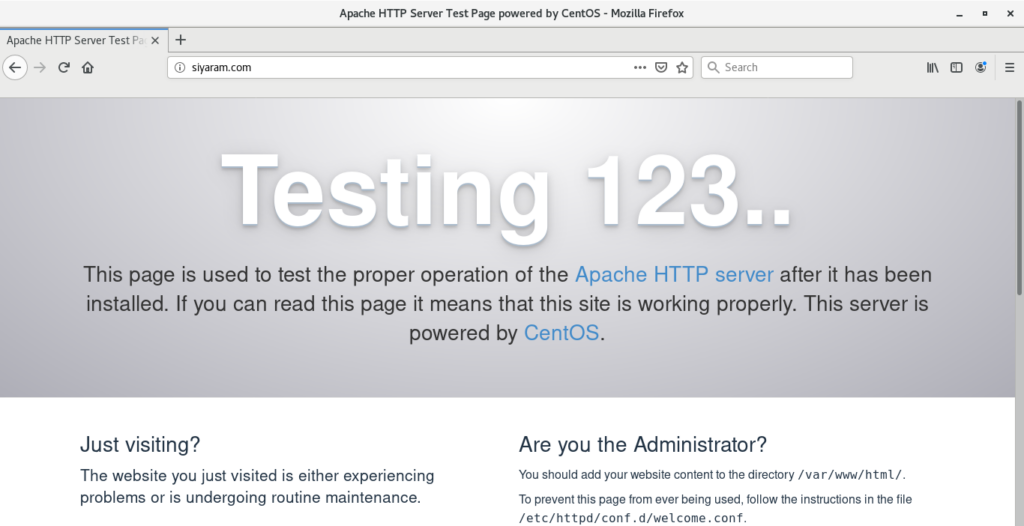 Open  test  web page in apache web server