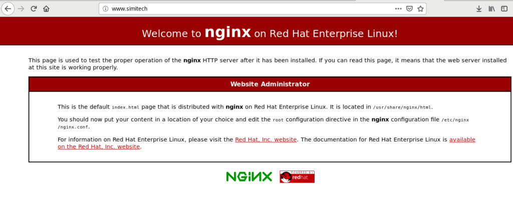 Default page of Nginx http web server