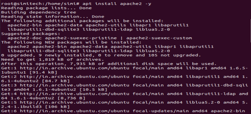 Install  Apache2 package on Ubuntu20.04