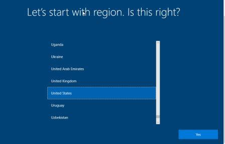 Select Region how to install windows 10 from Pendrive