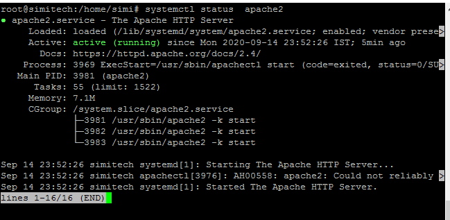 Verify That The Apache2 Service Is Running in Ubuntu 20.04