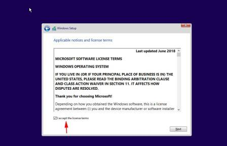 Accept the licence how to install windows 10 from Pendrive