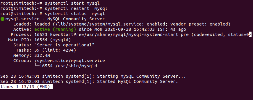Start MySQL service and check Status