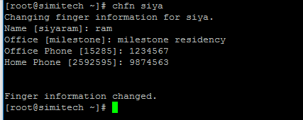 chfn change finger for a specific user