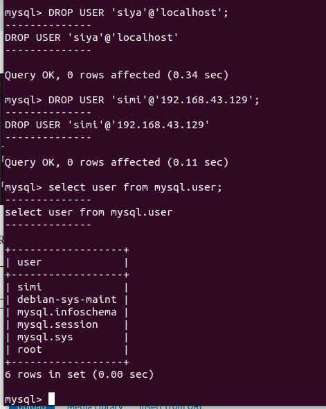 Remove an Existing MySQL User Account.