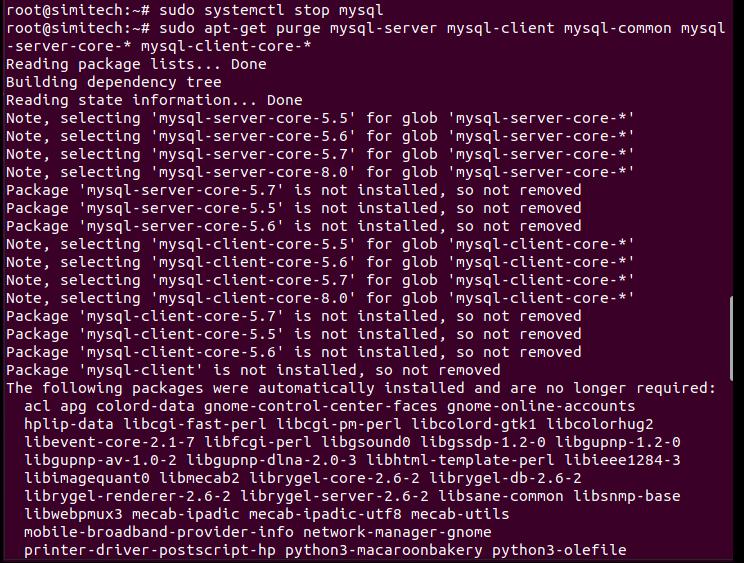 Uninstall MySQL in Ubuntu