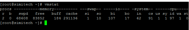 vmstat displays information about processes, memory,CPU in Linux