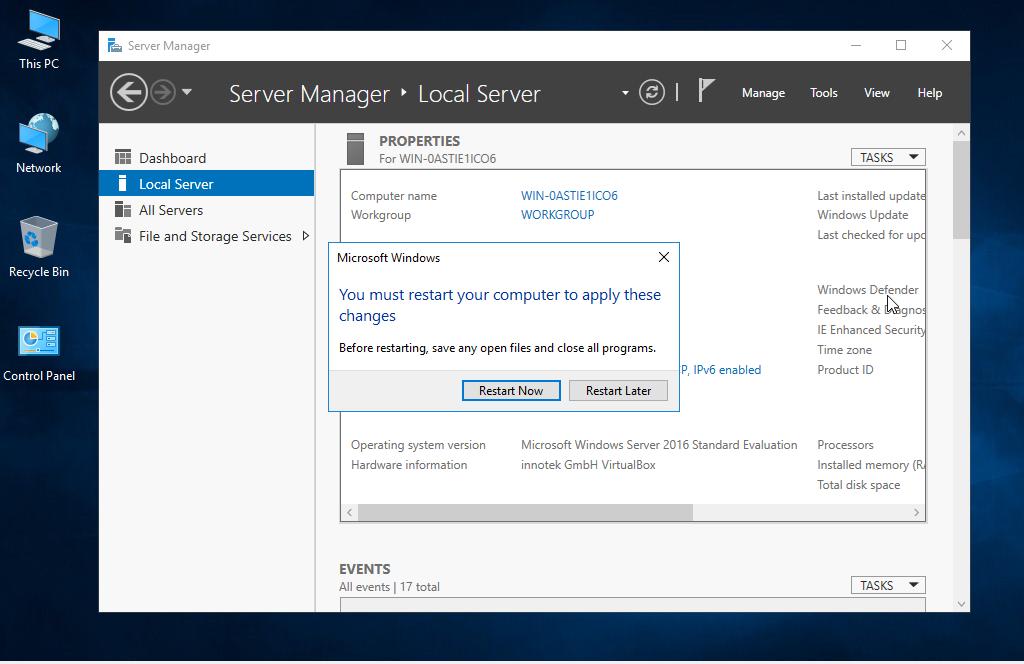 restart the windows Server 2016