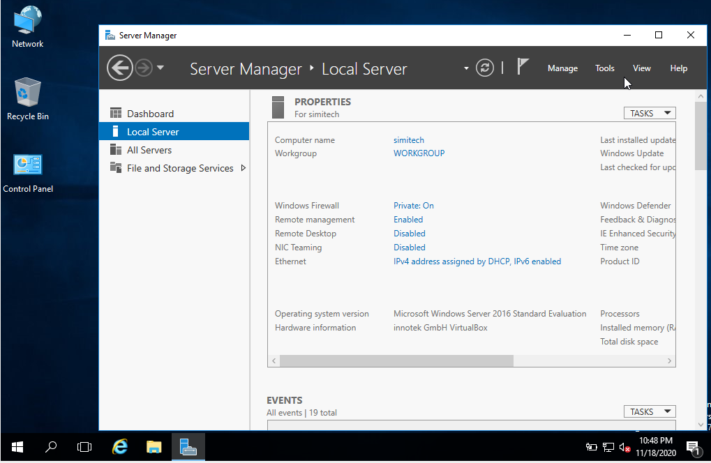 local server manager in windows server 2016