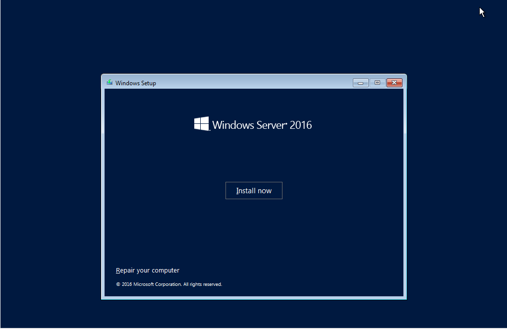 Install Now in windows server 2016