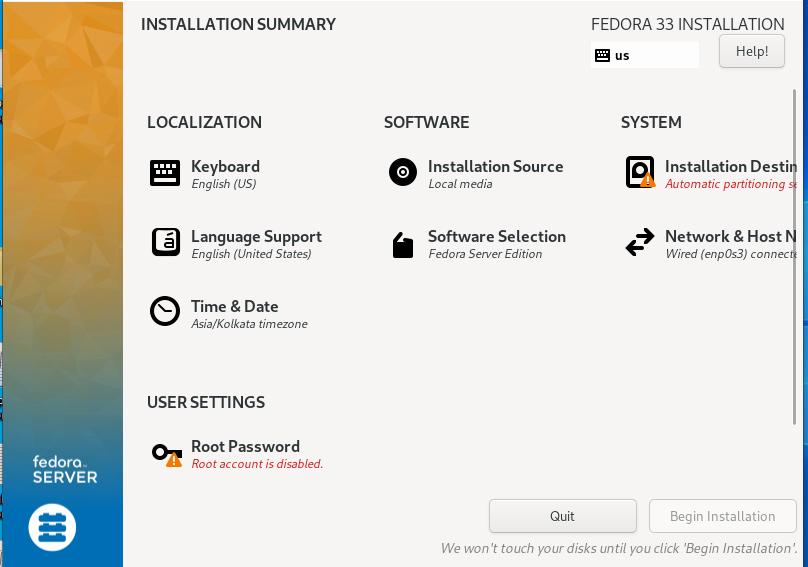 Preparing Fedora 33 Installation how to install fedora 33 from usb