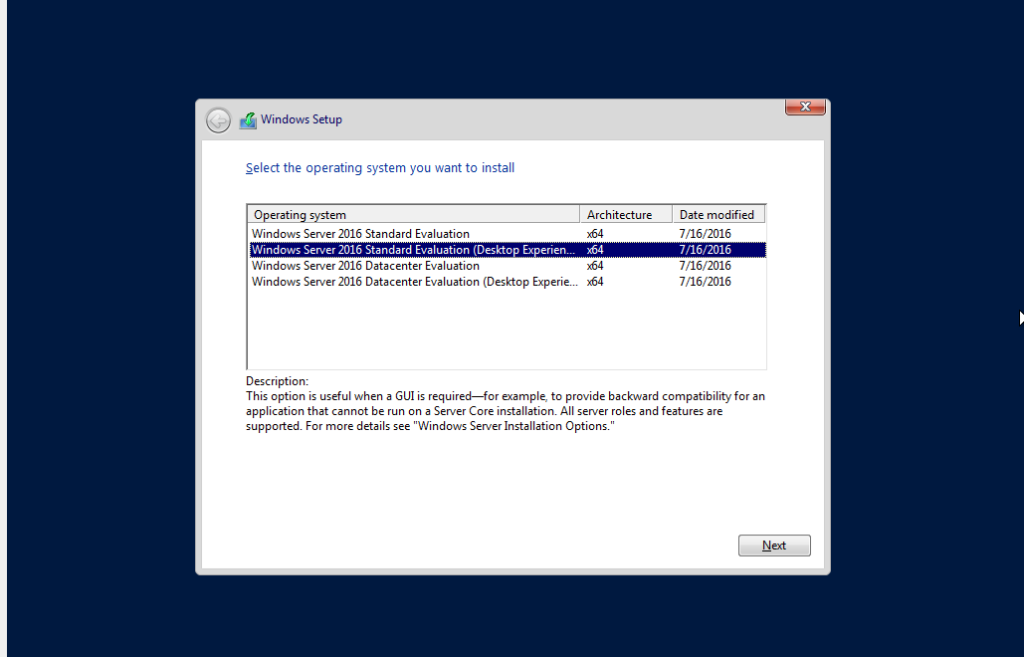 Windows Server version