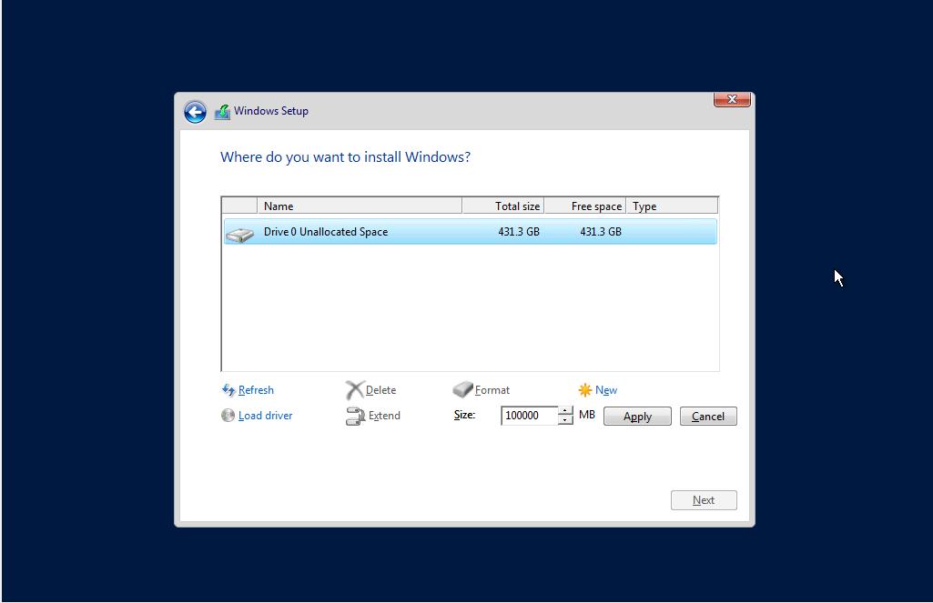 Create drive During Windows Server installation