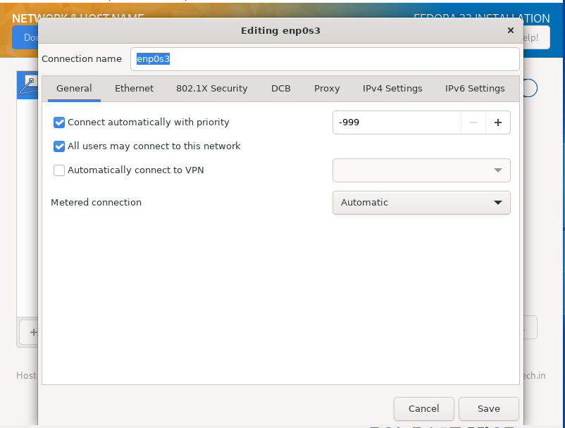 set ethernet connection in how to install fedora 33 from usb