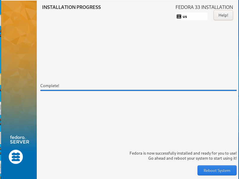 Reboot the System After Install how to install fedora 33 from usb