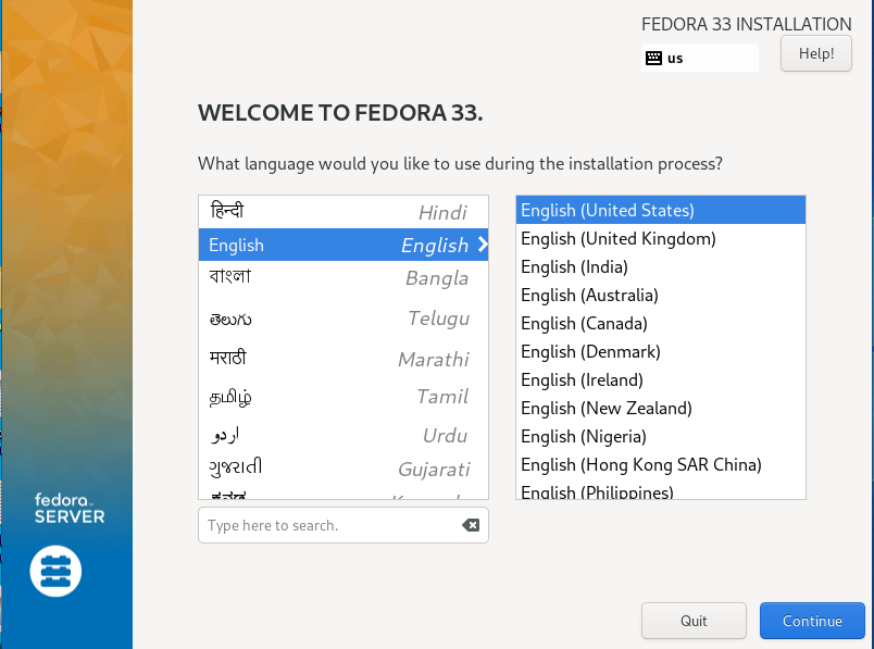 preferred language in Fedora 33 how to install fedora 33 from usb