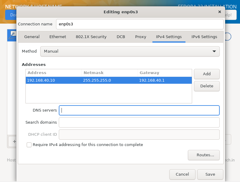Set Ip Address in how to install fedora 33 from usb