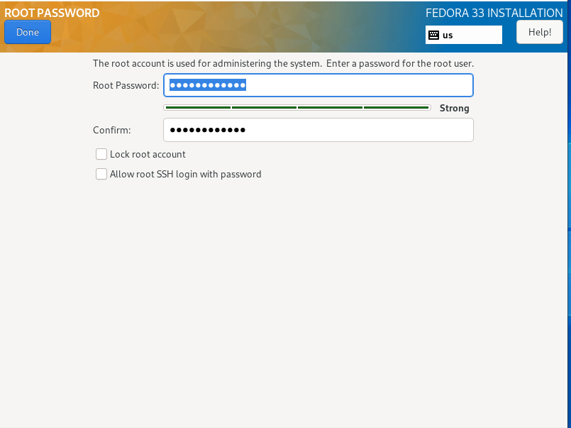 set the root password in how to install fedora 33 from usb