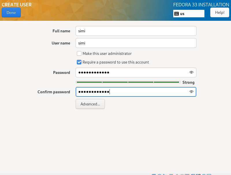Create User Account in how to install fedora 33 from usb