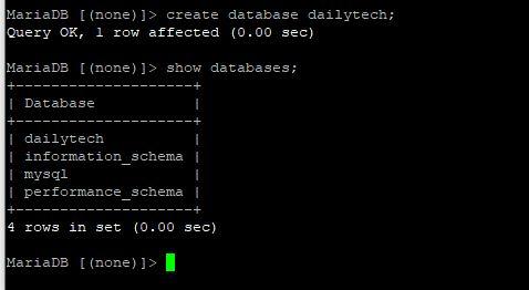 create database in  MariaDB  in Ubuntu 20.04