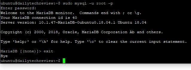 login in MariaDB  in Ubuntu 20.04