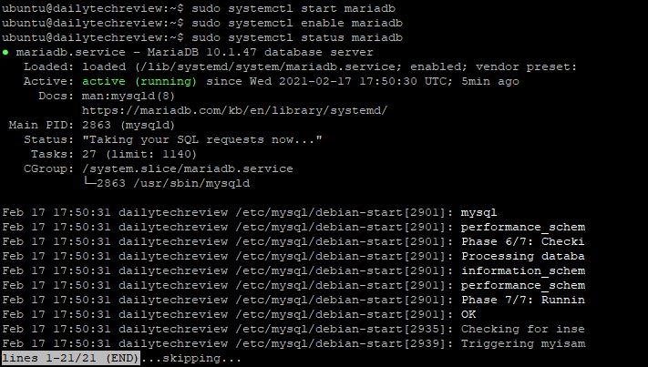 start service in mariadb How To Install MariaDB Ubuntu 20.04