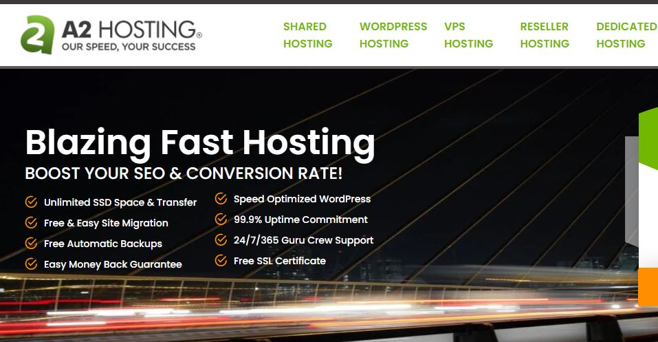 A2 Hosting service feature