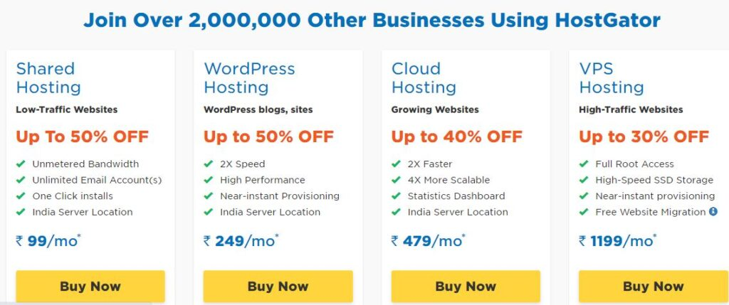hostgator plan in Best Web Hosting in India