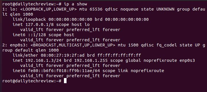 show IP in Linux networking command