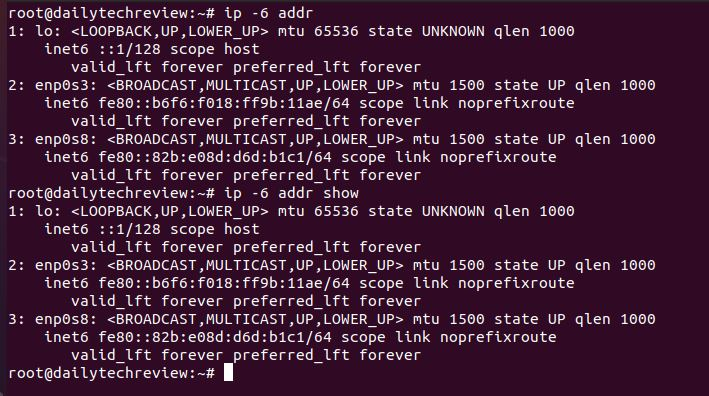 get only Ipv6 related information in Linux networking command